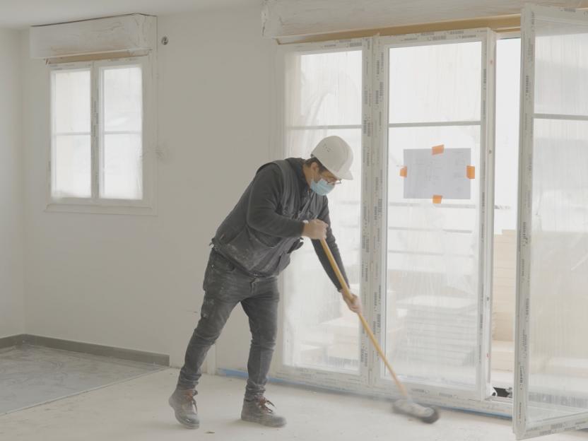 Nettoyage des parties communes sur le chantier